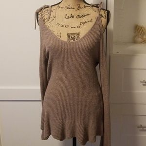 NWT Express Taupe Cold Shoulder Sweater - Med